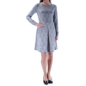 NWT Kensie Gray Print Long Sleeve Dress - A11